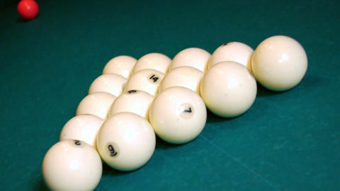 Breaking The Balls At A Pool Game stock footage