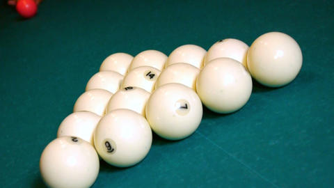 Breaking the balls at a pool game Stock Video Footage