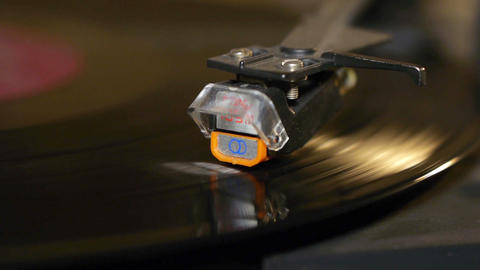 Record playing on turntable Stock Video Footage