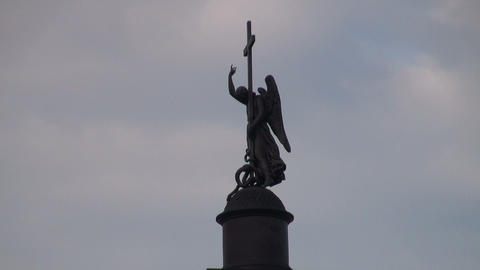 Alexander column on Palace square Stock Video Footage