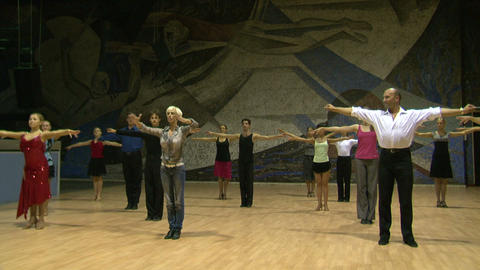 Teacher of the ballroom dance, rehearsal Footage