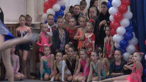 A group of girls on sports gymnastics Stock Video Footage