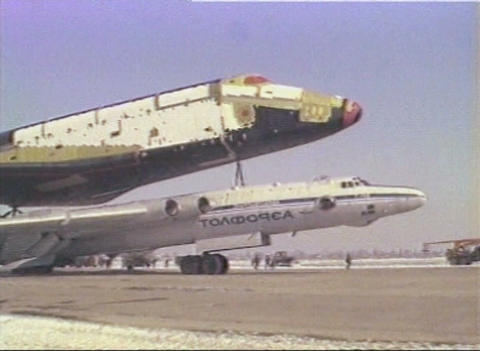 The launch of space shuttle Buran Stock Video Footage