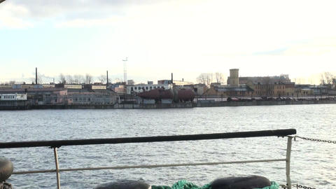 The hull of the submarine at the pier Stock Video Footage