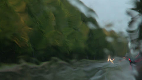 The water runs down on the glass Stock Video Footage