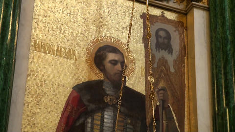 The interior of an orthodox church Footage
