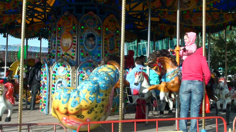 Children's merry-go-round Stock Video Footage