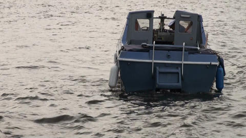 The boat rocking on the waves Stock Video Footage