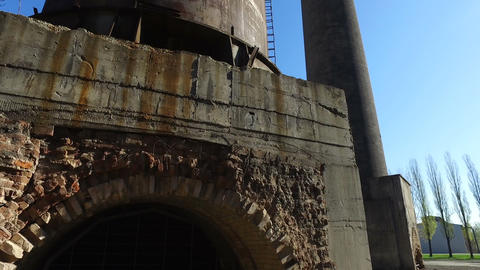 Chimney At Old Metallurgical Plant Footage