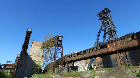 Coal Mine Tower At Old Metallurgical Plant Footage