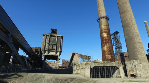 Old Abandoned Metallurgical Plant - Coke plant, chimneys, coal mine tower Live Action