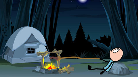 Stickman, By a Campfire (Forest Background): Loop + Matte Stock Video Footage