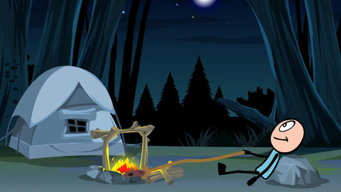 Stickman, By A Campfire (Forest Background): Loop + Matte stock footage