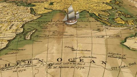 Cartoon sailing ship on ancient world map Animation
