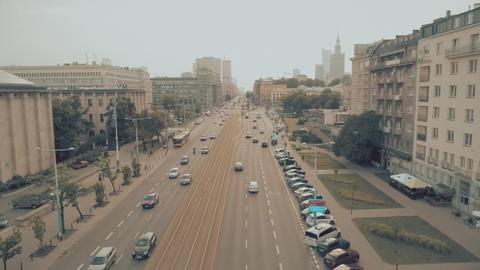 WARSAW, POLAND - JULY 17, 2018. Aerial view of Aleje Jerozolimskie street Photo