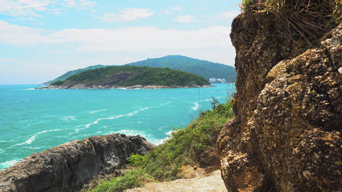tropical exotic island, seascape, blue warm sea, travel... Stock Video Footage