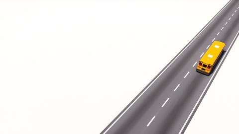 School bus on empty road aerial view 3D animation Animation