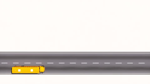 Yellow school bus moving on empty road top view 3D Animation