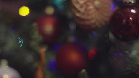 Christmas and New Year holiday Decoration. Abstract Blurred Bokeh Holiday Footage