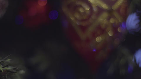 Dolly shot of Christmas and New Year Decoration. Abstract Blurred Bokeh Holiday Archivo