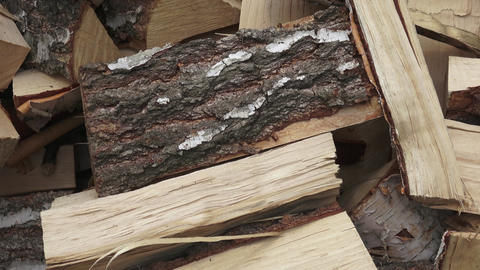 Wood made from birch (cut version). Pile of chopped fire wood prepared for ビデオ