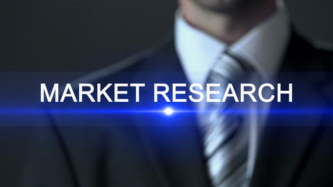 Market research, businessman in suit touching screen, investigation, statistics ビデオ