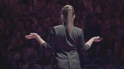 Woman speech at business conference for managers GIF