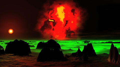 The Burning Nebula over an Alien Planet Animation