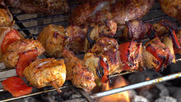 Slow Motion of meat on barbecue fire Footage