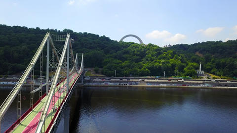 Beautiful view of the bridge over the river Live Action