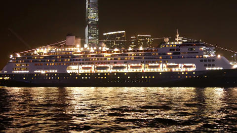 Cruise ship at the pier of Hong Kong in the evening Footage