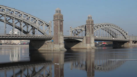 Old Bridge With Beacon Towers Reflected In Water stock footage