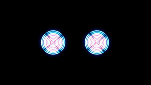 Digital Robotic Eyes Flashing Lights And Spin stock footage