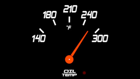 Animated Oil Tempature Meter on a Black Background Footage