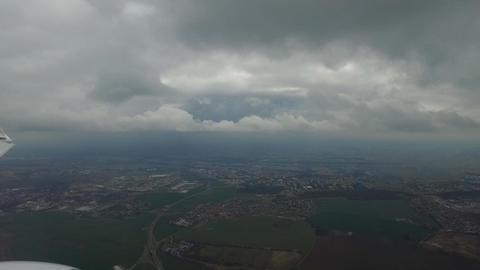 Plane landing in Prague - window view Footage