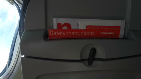 Airplane Safety Instructions stock footage