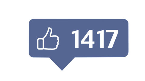 """""""Like button"""" with numbers on social network, on a white background with alpha Animation"""