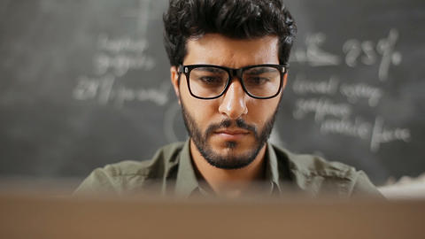Man Considering Information as Working Live Action