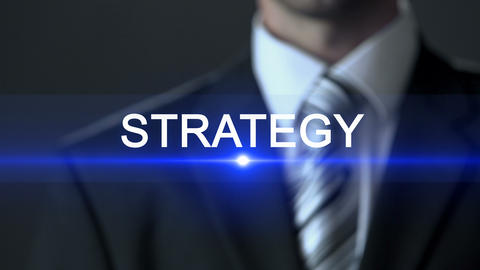 Strategy, businessman in suit touching screen, company plan, business concept Footage