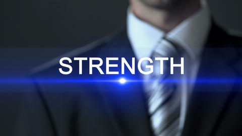 Strength, businessman wearing suit touching screen, powerful, possibilities ビデオ