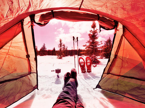 Winter camping tent, trail in snowy landscape. Travel Lifestyle concept Photo
