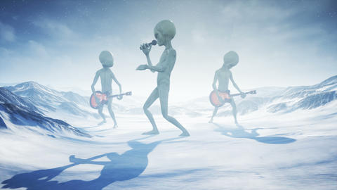 Aliens sing and play guitars on their home snow planet on the background of the Animation