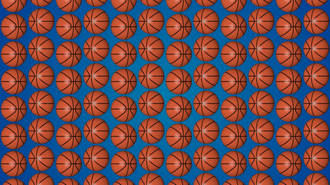 Basketball orange balls 3d blue background pattern vetrical GIF