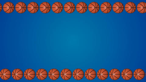 Basketball orange balls 3d frame border blue background pattern Animation