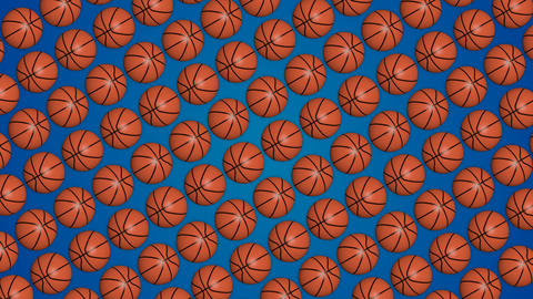 Basketball orange balls 3d blue background pattern diagonal Animation