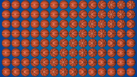 Basketball orange balls rolling 3d blue background pattern Animation