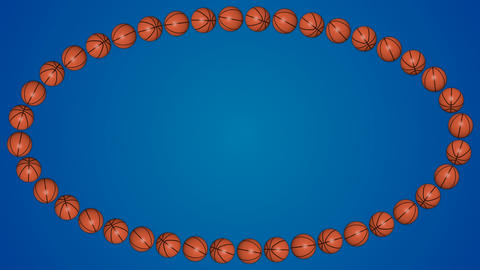 Basketball orange balls 3d border frame blue background pattern Animation