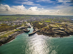 Aerial view of Amlwch Harbour on Anglesey, North Wales, UK フォト