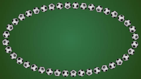 Football balls ellipse frame border screen soccer green background loop GIF