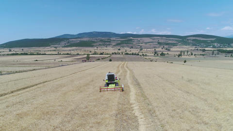 Combine Harvester Working Footage